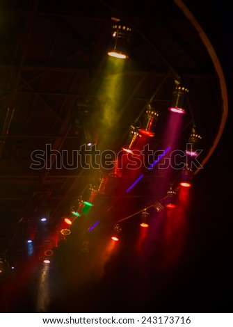 spotlights at the stage at night - stock photo