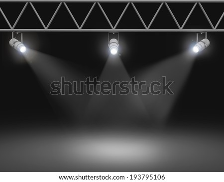 Spotlights illuminated wall - stock photo