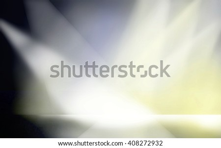 spotlights on stage, product display box, interior room with floor and walls, 3d room, blank sales ad background, dramatic presentation design - stock photo