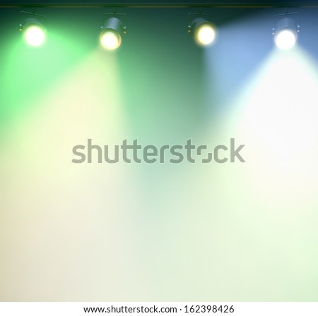 Spotlights to white background; What area is a perfect place for content. - stock photo