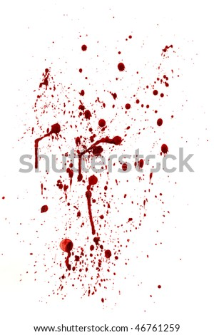 spots and splashes of blood on a white background