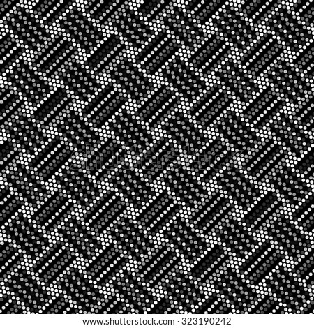Spotted seamless grunge weaving abstract line background halftone effect. Polka dot textile illustration