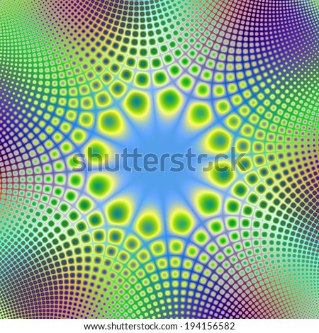 Spotted Sphincter / A digital abstract fractal image with a spotted frame design in blue, green, yellow and purple. - stock photo