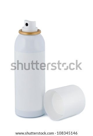 Spray bottle with space for text or images on a white background. - stock photo