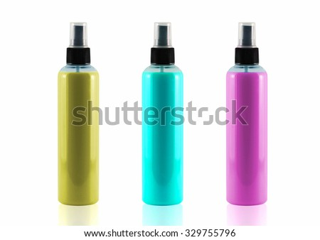 Spray bottles sets isolated on white background, use clipping path. - stock photo