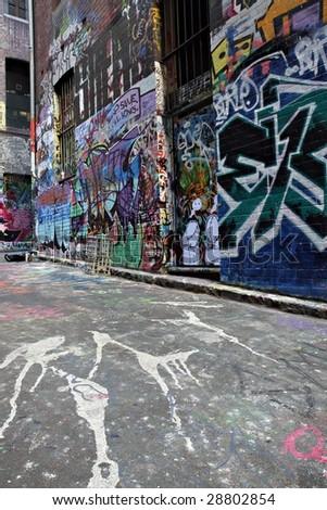 Spray cans in a Graffiti Alley in Melbourne, Australia - stock photo