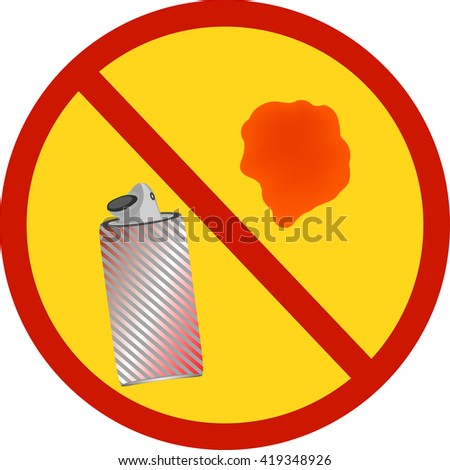spray icon flat, spray icon picture . Spray paint in the bank  . Sign prohibiting the use of paint .