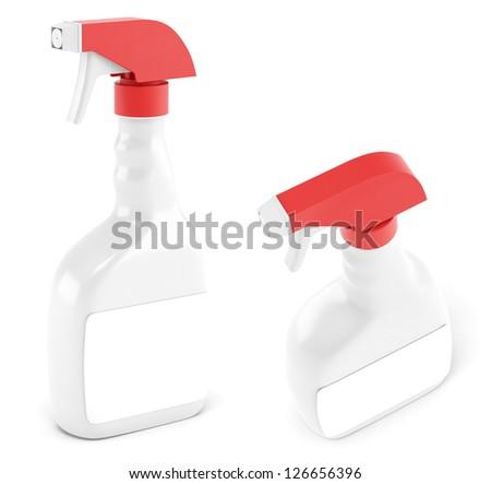 Spray white bottle different views - stock photo