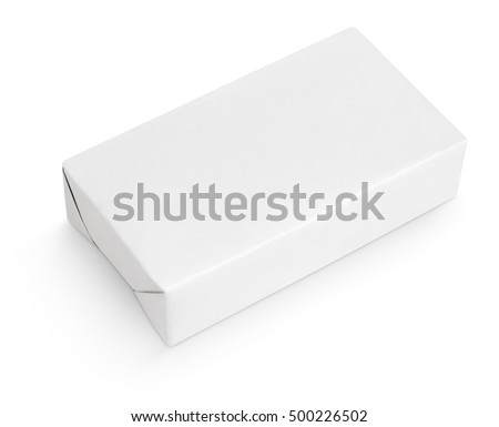 Spread butter wrap box package isolated on white background with clipping path