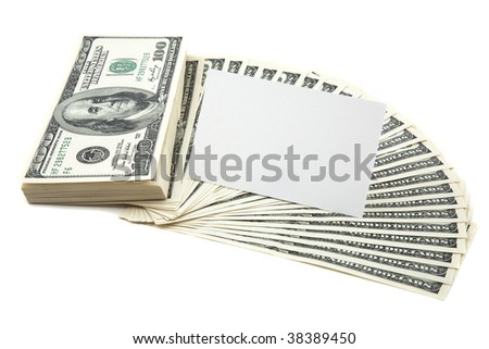 Spread of cash on white background with white blank card for text - stock photo