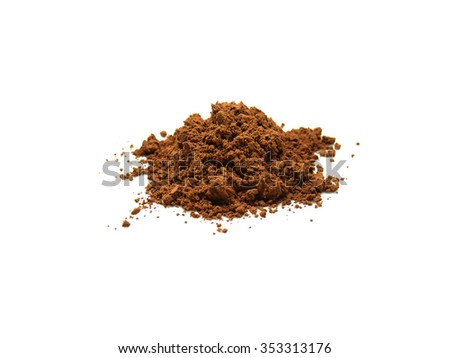 Spreading cocoa powder isolated on white background - stock photo