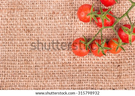 Sprig of fresh red cherry tomatoes on sacking in the upper right corner