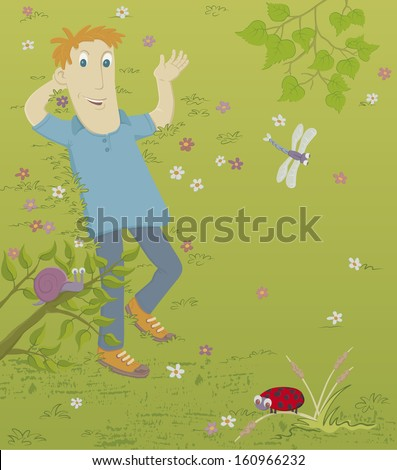 Spring. A young man is lying on the grass. Nearby is a snail, a ladybird and a dragonfly. - stock photo