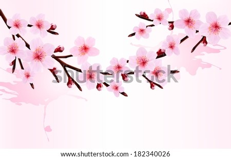 Spring background of a blossoming tree branch with spring flowers. Raster version. - stock photo