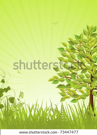 Spring background vector with butterflies, grasses, tree and subtle light rays