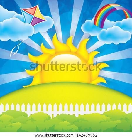 Spring background  with kite and rainbow - stock photo