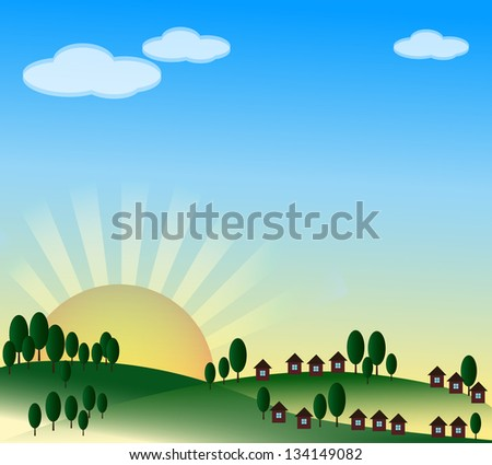Spring background with village, sunrise and blue sky. JPG