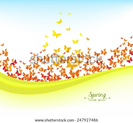 spring banners with colorful butterflies and blue sky - stock photo