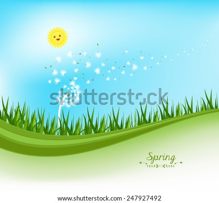spring banners with dandelion and blue sky - stock photo