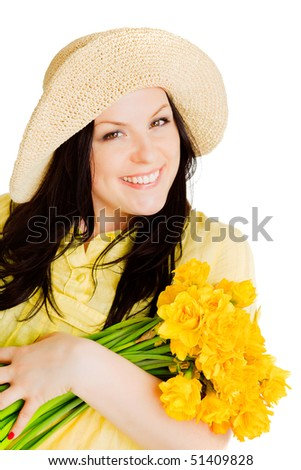 spring beautiful woman holding flowers over white background - stock photo