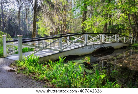 Spring blooming azalea bushes reflecting in the water near a white ornamental bridge in Charleston, South Carolina. - stock photo