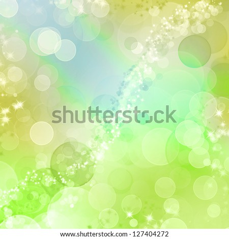 Spring Bokeh background in blue yellow and green