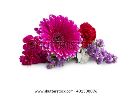 Spring bouquet flowers with gerbera,carnations and purple flowers isolated on white - stock photo