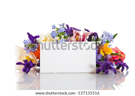 spring bouquet of flowers with a blank form on a white background - stock photo