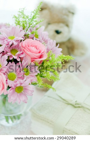 spring bouquet with a bear