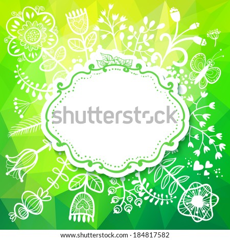 Spring card with Flower. Raster version. illustration, can be used as creating card, wedding invitation, birthday, valentine's day and other holiday and summer or spring background. - stock photo