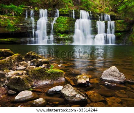 Spring cascades at the beautiful Sgwd y Pannwr waterfall in Brecon Beacons national park, Wales.