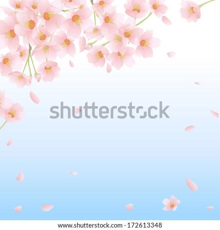 Spring Cherry Tree Frame Japan Stock Illustration 172613348 ...