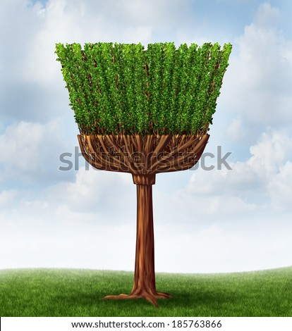 Spring cleaning concept with a tree shaped as a broom and handle as a symbol of maid services or housekeeping chores to clean ans sweep away dirt or purify the air in the environment. - stock photo