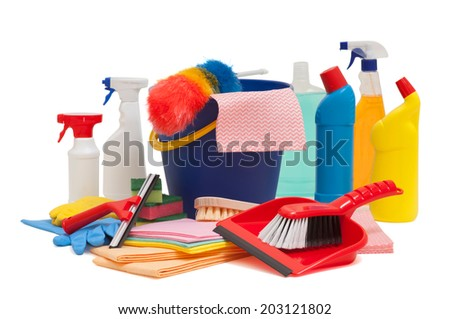 spring cleaning equipment with bucket brush and squeegee incluided - stock photo