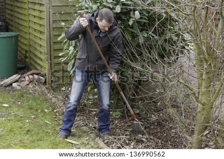 spring cleaning.  gardener at seasonal spring garden work . removing foliage in the front yard.