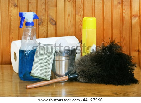 Spring cleaning supplies, including a bucket with suds, ostrich feather duster and window cleaner.