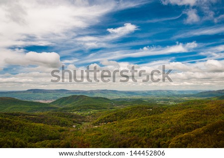 Spring colors in the Appalachian Mountains and Shenandoah Valley, seen from Skyline Drive in Shenandoah National Park, Virginia. - stock photo