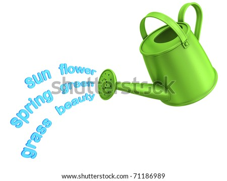 Spring concept. Flowing spring words from green watering can.