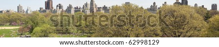 Spring crowd, Central Park, New York City, nyc - stock photo