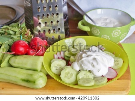 Spring diet - Cucumber salad with yogurt and radish in a bowl - products for the preparation of misery - stock photo