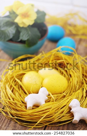 Spring Easter still life with colored eggs - stock photo