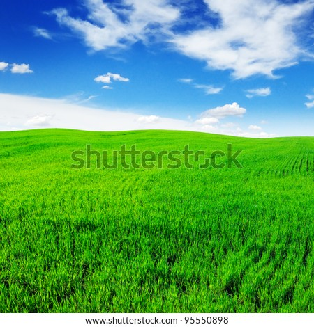 spring field and clouds - stock photo