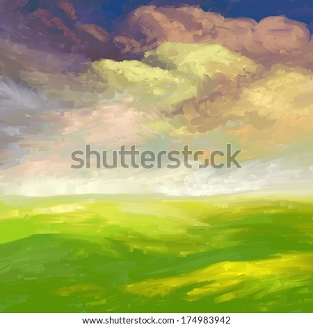 Spring field, digital oil painting texture