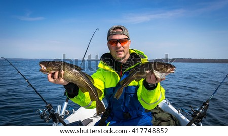 Spring fishing cod scenery - stock photo