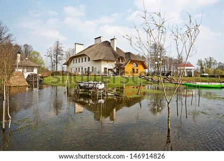Spring flood, Belarus, near Brest - stock photo