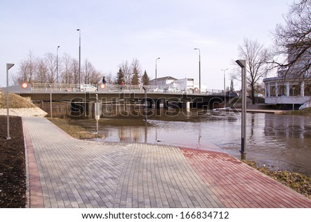 spring flood in town - stock photo