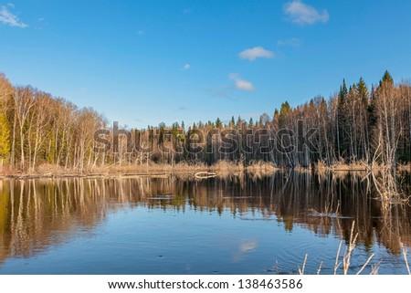 Spring flooding in Siberia - stock photo