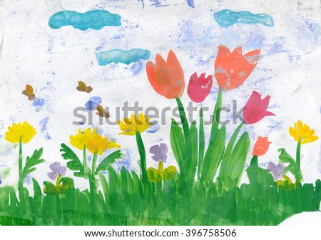 Spring. Floral landscape. Child's drawing watercolor.  - stock photo