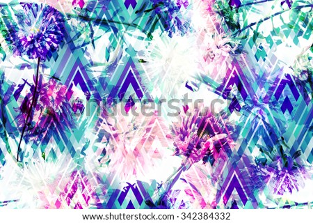 Spring Floral seamless pattern with beautiful flowers ornament on a geometric background. Photo collage of flowers Asters on a rhombus backdrop. Artwork with effect layering for floral design. - stock photo