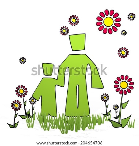 spring flower hand drawn sketch of father and son with simple flowers on white background - stock photo